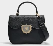 Kleine Handtasche Ducale aus schwarzem Kalbsleder