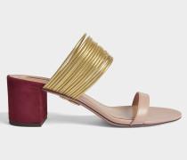 Rendez-Vous 50 Sandalen aus Powder rosanem, goldenem und dunklem Chilli Wildleder, Specchio und Kalbsleder