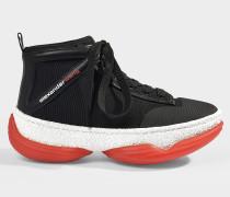Sneaker aus schwarzem Leder und Netz