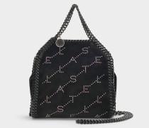 Mini Tasche Falabella mit Kristallen aus schwarzem Eco Leder