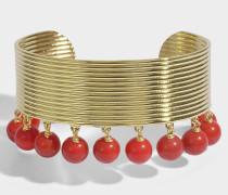 Ana Cuff aus coralfarbenem Colorotem Perlen und 18K vergoldetem Messing