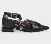 Flache Schuhe mit Schnalle aus schwarzem Leder