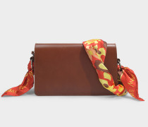 Tasche Scarf Medium aus cognacfarbenem Synthetikmaterial