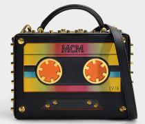Kleine Handtasche Berlin Cassette aus schwarzem Kalbsleder