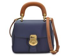 Small DK88 Top Handle Tasche aus dunkelblau geprägtem Kalbsleder