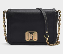 Handtasche The Mini Squeeze mit Kettenriemen aus schwarzem Kalbsleder