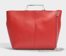 Hand Carry Crossbody Tasche mit Chain aus rotem Kalbsleder mit Folie
