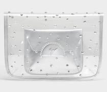 Transparent Clutch mit Pouch aus silbernem PVC