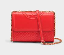 Fleming Small Convertible Shoulder Bag aus Exotik rotem Lammleder
