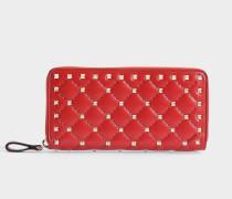 Rockstud Spike Zip Around Continental Geldbörse aus rotem Nappaleder