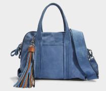 Rally Handtasche aus blauem Wildleder und Denim