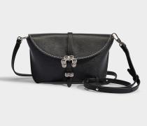 Handtasche mit Schulterriemen Mini Hudson aus schwarzem Kalbsleder