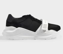 Regis low top check Sneaker aus schwarzem, glattem und weißem Kalbsleder