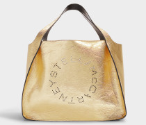 Kleiner Shopper Logo Metallic aus goldenem Synthetikmaterial