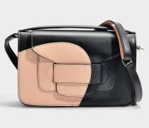 H Clutch Tasche aus Nude schwarzem Kalbsleder