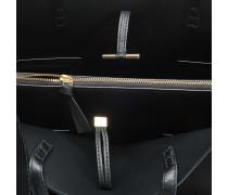 Block T Triple Compartment Tote Bag aus schwarzem Lammleder