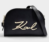 K/Signature Big Crossbody Bag in Black And Gold Calfskin