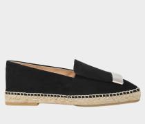Flat Moccasins Espadrilles aus schwarzem Leder