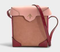 Mini Handtasche Pristine Combo aus Samt und rosa pflanzlich gegerbtem Kalbsleder