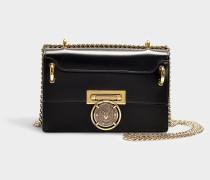 Handtasche mit Taschenklappe Baby Box 20 aus schwarzem Kalbsleder