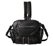 Mini Marti Backpack aus schwarzem Lammleder mit silbernem Finish