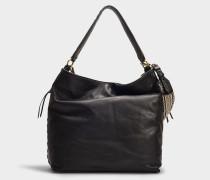 Suede Hobo Bag aus schwarzem Veloursleder