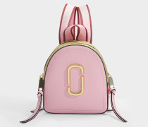Mini Pack Shot Backpack in Baby Pink and Red Leather with Polyurethane Coating