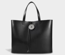 Large Shopper Tasche aus schwarzem Kalbsleder