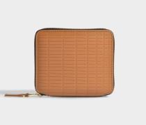 Quadratisches Portemonnaie mit Zip aus beigem Kalbsleder