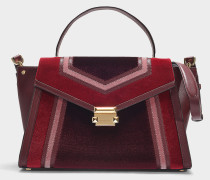 Whitney Large Top Handle Satchel in Burgundy Velvet