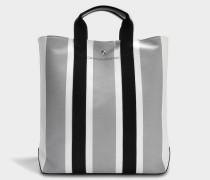 Shopper Tote Bag aus weißem grauem und schwarzem Jacquard Stoff und Kalbsleder