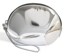 Shootausg Clutch Tasche aus silbernem Leder