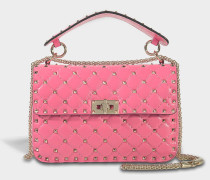 Rockstud Spike Medium Shoulder Bag aus Shadow rosanem Nappaleder