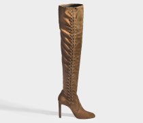Stiefel mit Schnürbändern Marie 100 aus Samt Stretch Beige