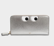 Eyes Large Zip Round Geldbörse aus Silberoptik Capra Leder