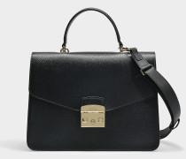 Handtasche Metropolis Medium aus schwarzem Kalbsleder