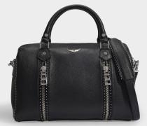 Tasche Sunny Medium aus gegerbtem schwarzem Leder mit Nieten