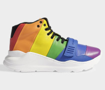 Reggie rainbow hightop sneaker aus glattem, bunten Kalbsleder