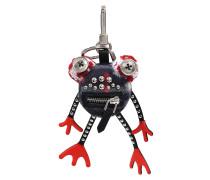 Frog Charm Taschenaccessoire aus schwarzem mehrfarbigem Kaschmir und Leder