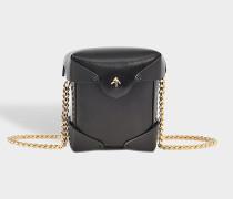 Micro Pristine Tasche mit Chain Strap aus schwarzem Vegetable Tan