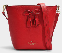Hayes Street Vanessa Bucket Bag in Royal Red Pebble Leather