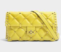 Candy Lock Shoulder Tasche aus Ocre gelbem Nappa Leder