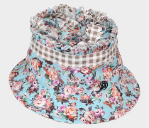 Pleated Flower Gingham Erin Bucket Hat