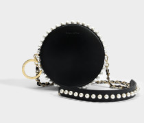 Rena Tambour Stud Tasche aus schwarzem Kalbsleder