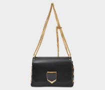 Lockett Petite Tasche aus schwarzem und goldfarbenem glattem Kalbsleder