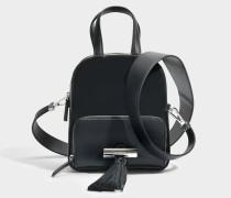 Sailor Top Handle Backpack aus schwarzem Leder