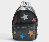 Nylon und Glitzer Stars Falabella Go Backpack aus schwarzem Eco Material