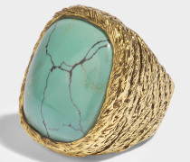 Miki türkisem Ring in türkisem und aus 18K vergoldetem Messing