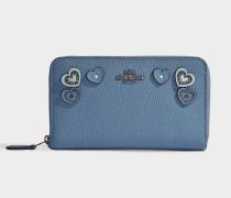 Portemonnaie mit Reißverschluss Medium aus blauem Kalbsleder