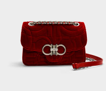 Gesteppte Handtasche Gancio aus rotem Velours